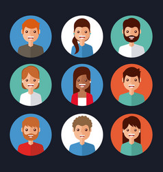 avatar people character internet icons circle vector image