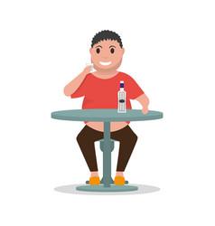 cartoon man alcoholic drink alcohol table vector image
