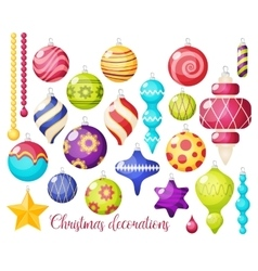 Christmas Decorations Icon Set vector image