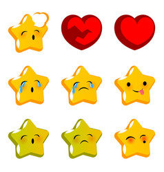 emotional stare sick cry emoji faces set vector image