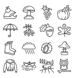 Fall season line art thin and simply icons set vector image vector image