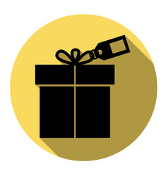 gift sign with tag flat black icon with vector image