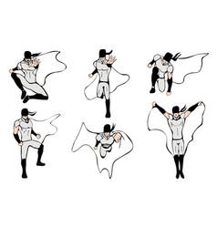hand drawn superhero models in various poses vector image