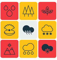 Set of 9 world icons includes water drops vector