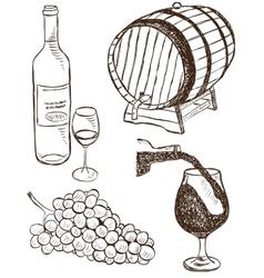 Set of wine doodles vector image