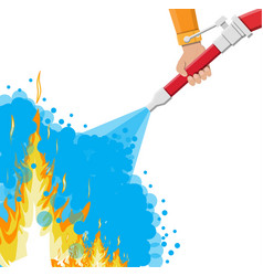 water hose in hand to extinguish the fire vector image