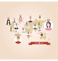 World map with pointers of location popular game vector image