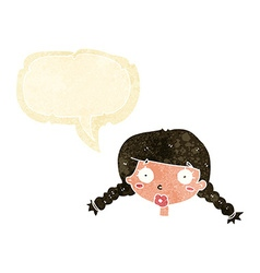 cartoon confused female face with speech bubble vector image vector image