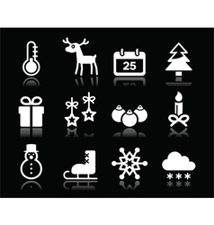 Christmas winter white icons set on black vector image