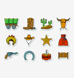 cowboy and western icons set in line art vector image vector image