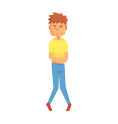 Guy holding belly in stomach cramps pain adult vector