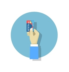 Hand holding credit card flat style trend modern vector image vector image