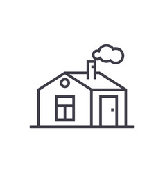 house with chimney line icon sign vector image vector image