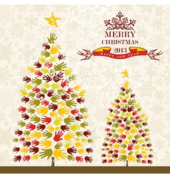 Merry Christmas pine tee hands card vector image vector image