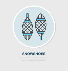 Thin line icon of snowshoes winter vector