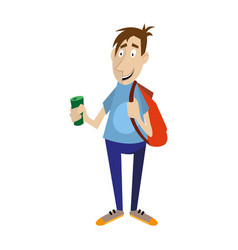 young man holds in his hand a bottle of drink vector image vector image