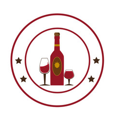 circular emblem with wine bottle and wine glasses vector image