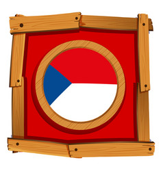 czech republic flag on round badge vector image vector image