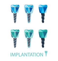 dental implant symbol set vector image