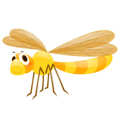 yellow dragonfly on white background vector image