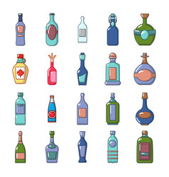 alcohol bottle icon set cartoon style vector image