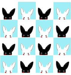 Blue White Rabbit Chess board Background vector image