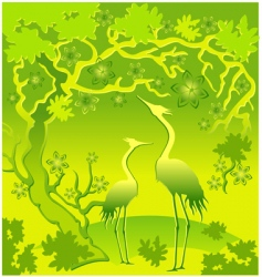 landscape with herons vector image