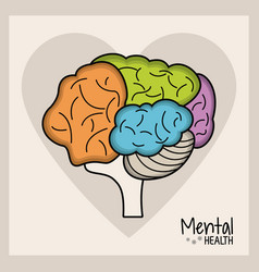 mental health brain heart vector image