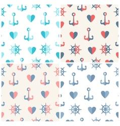 Navy seamless patterns set anchor steering wheels vector image