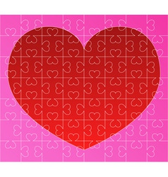 puzzle with red heart vector image vector image
