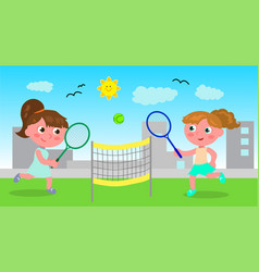 young woman playing tennis vector image vector image