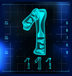 1 number one roentgen x-ray font light vector image