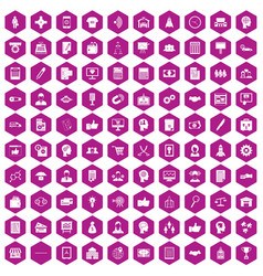 100 business strategy icons hexagon violet vector image