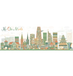 Abstract Ho Chi Minh Skyline with Color Buildings vector image