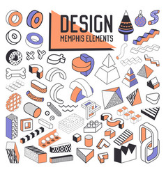 abstract memphis style design elements set vector image