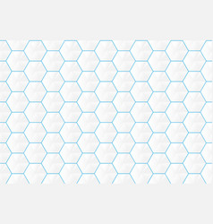Abstract white hexagons and blue lines seamless vector