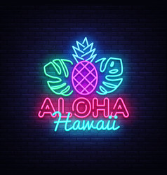 Aloha neon sign aloha hawaii design vector