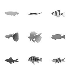 Aquarium fish set icons in monochrome style Big vector
