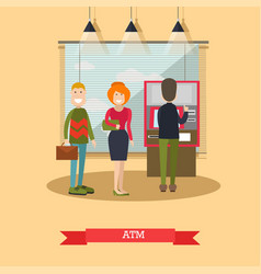 atm concept in flat style vector image