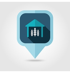 Barn flat pin map icon Map pointer vector