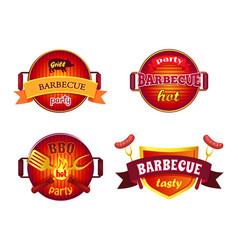 bbq party set icons barbecue vector image