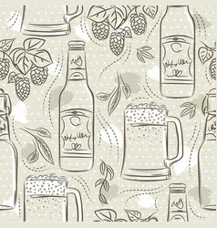 Beige seamless patterns with set beer bottle vector