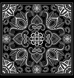 Black and white abstract bandana print with vector