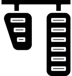 Black car gas and brake pedals icon isolated on vector