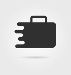 black travel suitcase icon with shadow vector image