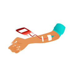 blood donor colorful icon - woman s hand during vector image