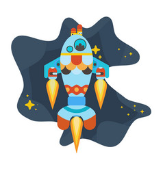 Blue turquoise rocket flies in space among vector