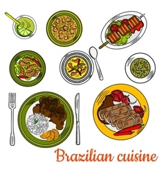 Brazilian barbeque dinner with lime cocktail icon vector