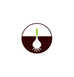 Bulb with sprout flowers company logo vector