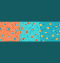 bushes and flowers seamless pattern beautiful vector image